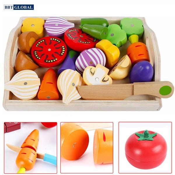Bộ đồ chơi cắt ghép rau củ bằng gỗ MSN15032