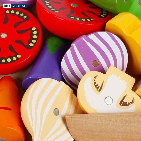 Bộ đồ chơi cắt rau củ quả bằng gỗ cao cấp BBT Global MSN15032