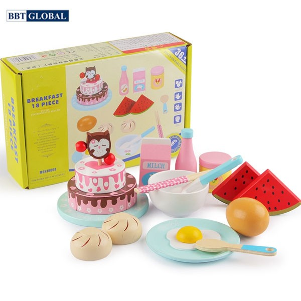 Đồ chơi đồ ăn nhanh bữa sáng bằng gỗ BBT Global MSN18008