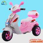 Xe máy điện trẻ em Vespa mẫu mới màu hồng BBT-913H