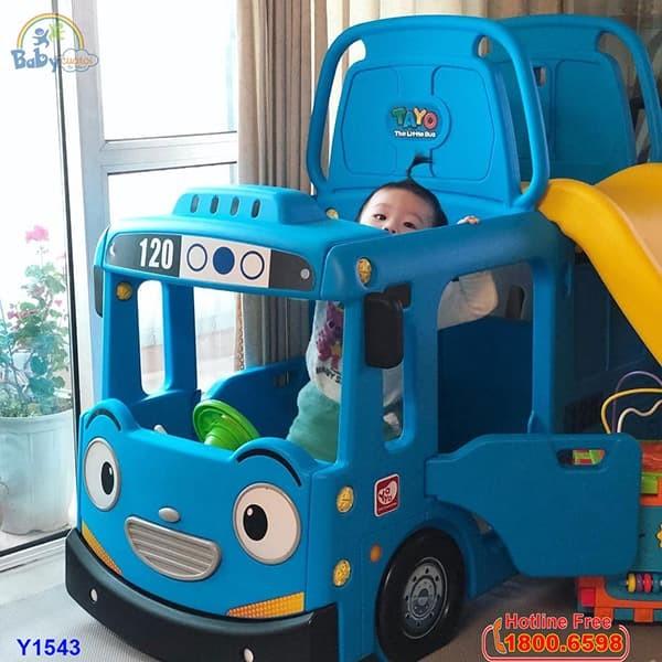 Cầu trượt bể bóng Hàn Quốc xe Bus Tayo 3 trong 1 Y1543