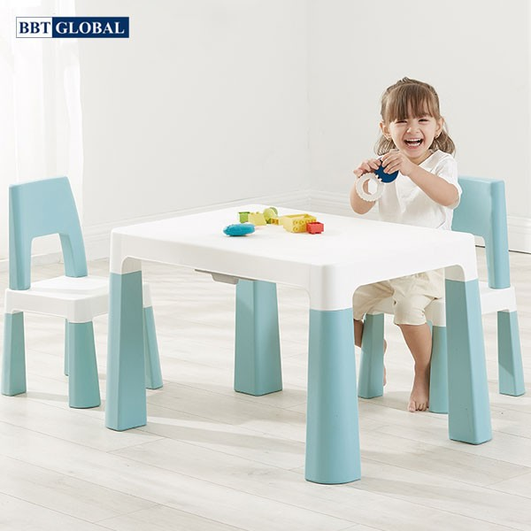 Bàn ghế style Hàn Quốc BBT GLOBAL cao cấp mầu xanh BB100-X