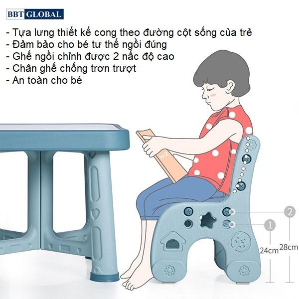 Bàn ghế style Hàn Quốc BBT GLOBAL cao cấp màu hồng BB101-H