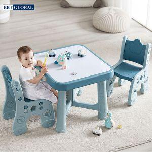 Bộ bàn 2 ghế style Hàn Quốc BBT GLOBAL cao cấp màu xanh BB101-X