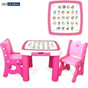 Bộ bàn 2 ghế học chữ cái cao cấp BBT GLOBAL cho bé màu hồng mã BB102-H