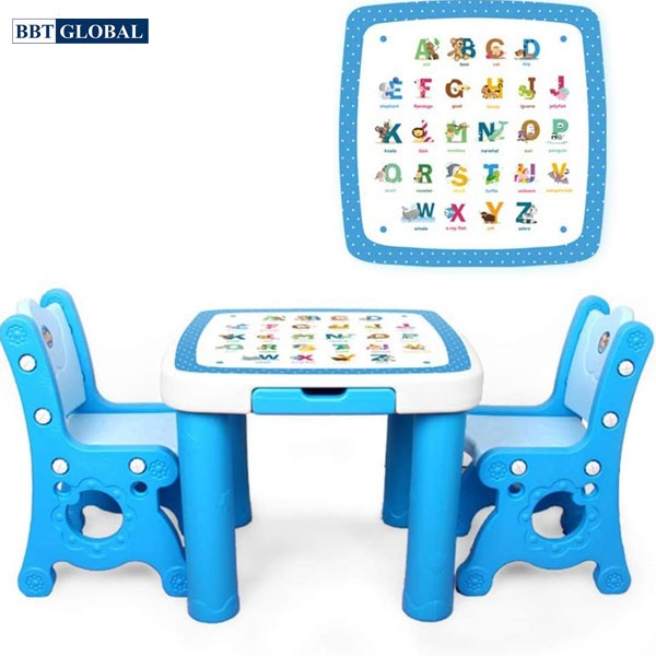 Bàn 2 ghế ghế học chữ BBT GLOBAL cho bé màu hồng mã BB102-H