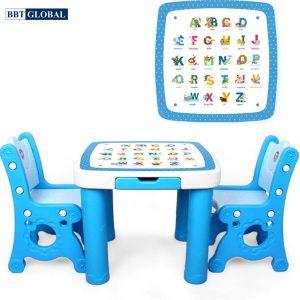 Bộ bàn 2 ghế học chữ cái cao cấp BBT GLOBAL cho bé màu xanh BB102-X