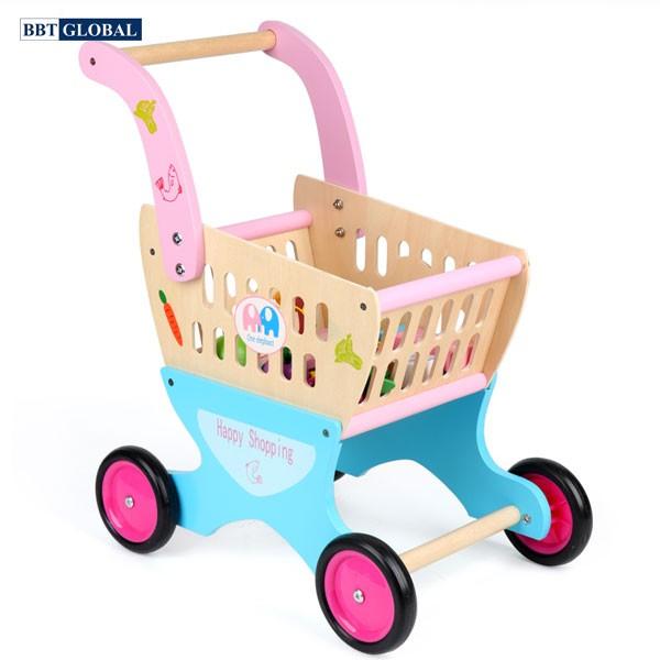 Đồ chơi xe đẩy siêu thị cho bé bằng gỗ MSN17069