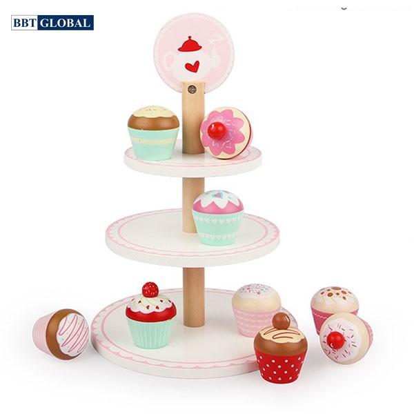 Bộ đồ chơi bánh kem 3 tầng bằng gỗ MSN19035
