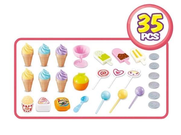Bộ đồ chơi xe đẩy bán kem đồ chơi có đèn, nhạc 668-52