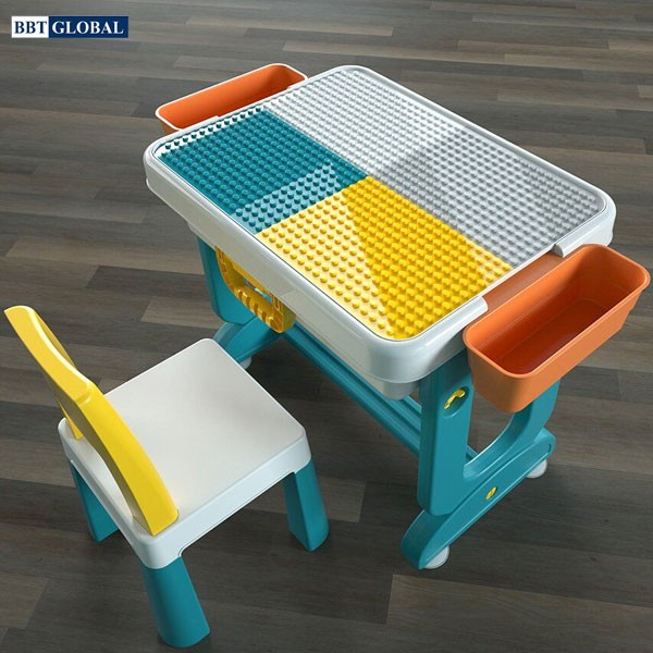 Bộ bàn chơi LEGO đa năng 1 ghế cho bé màu xanh BB104