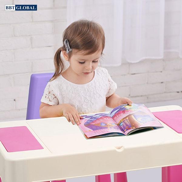Bộ bàn chơi LEGO đa năng 2 ghế cho bé màu hồng BB106