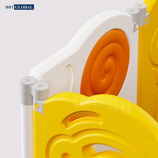 Combo quây bóng cầu trượt xích đu gấp gọn hình kẹo BSL307 màu vàng