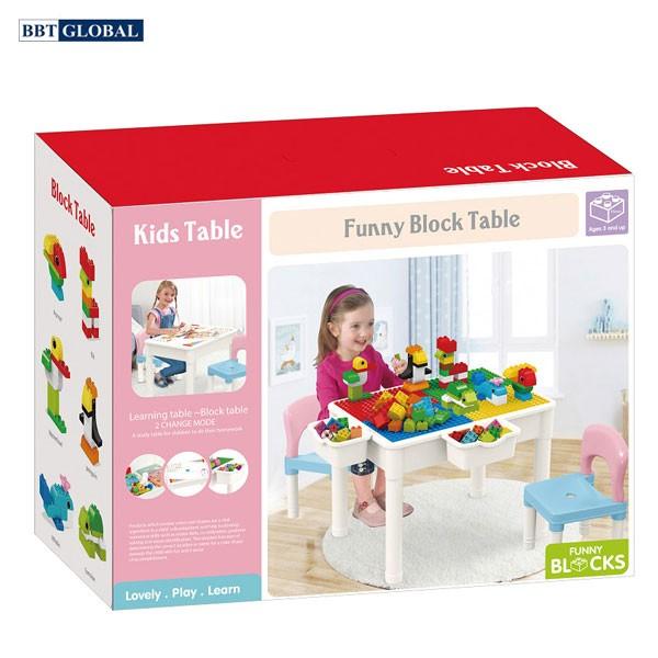 Bộ bàn chơi LEGO đa năng 2 ghế kèm bộ xếp hình 60 chi tiết cỡ lớn 566-229A