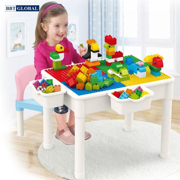 Bộ bàn chơi LEGO đa năng 1 ghế kèm bộ xếp hình 60 chi tiết cỡ lớn 188T-3