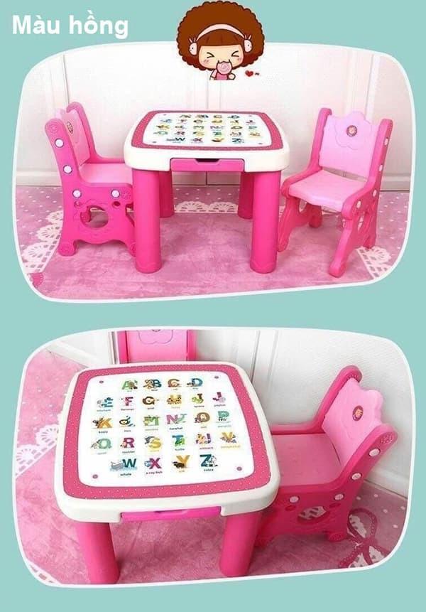 Bộ bàn kèm 2 ghế cho bé BB102 màu hồng
