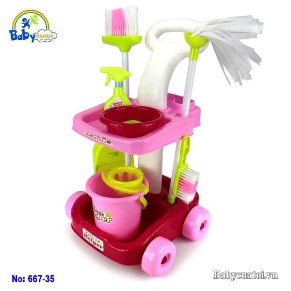 Bộ đồ chơi dọn dẹp xe đẩy 667-35