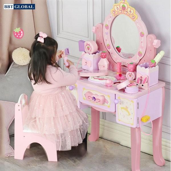 Bộ bàn trang điểm bằng gỗ cỡ lớn kèm ghế cho bé JYNC051