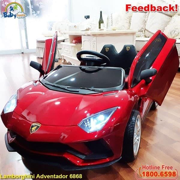 Ô tô điện trẻ em Lamborghini sơn đỏ ghế da bánh cao su BBT-6868CCS