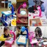 Bộ đèn bàn máy chiếu học vẽ thông minh cho bé YM6886