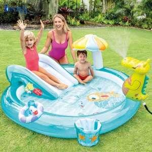 Bể bơi phao cầu trượt cá sấu chúa có vòi phun mưa INTEX 57165