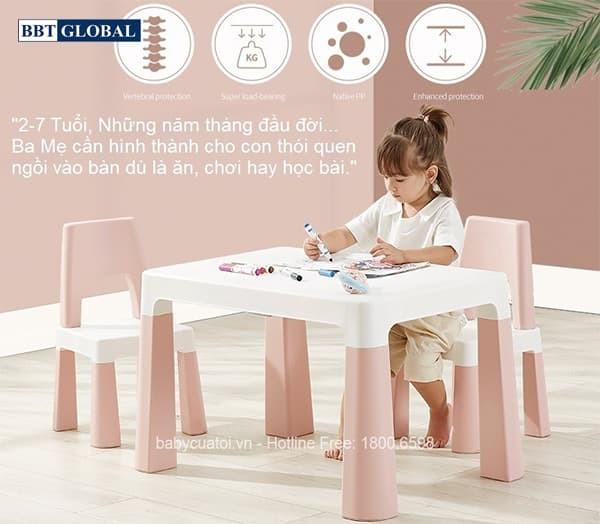Bộ bàn ghế trẻ em Style Hàn Quốc BB100 màu hồng