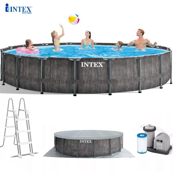 Bể bơi khung kim loại chịu lực tròn 5m49x1m22 mẫu mới INTEX 26744