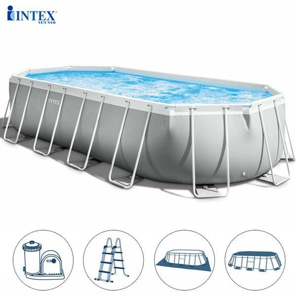 Bể bơi khung kim loại chịu lực OVAL dài 6m1 INTEX 26798