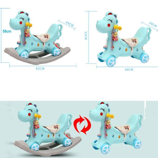 Ngựa bập bênh kết hợp xe chòi chân có nhạc cho bé RK-511