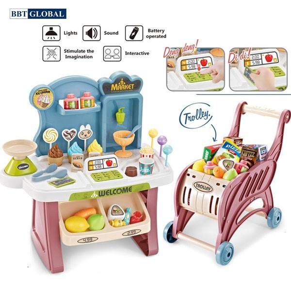 Quầy bán bánh ngọt và xe đẩy siêu thị cho bé 668-82