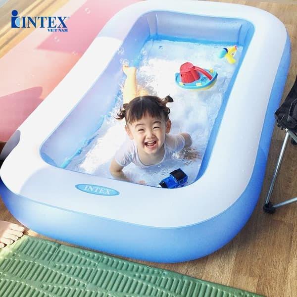 Hồ bơi phao trẻ em đáy bơm hơi 1m66 hình chữ nhật INTEX 57403