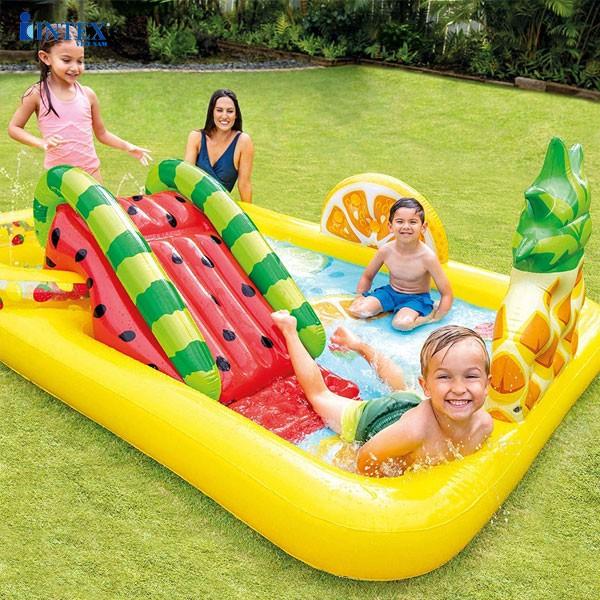 Bể bơi phao cầu trượt công viên hoa quả sắc màu INTEX 57158
