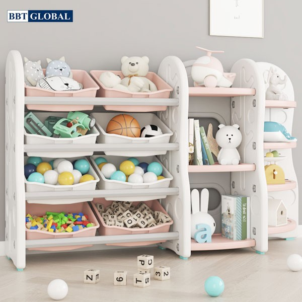 Giá kệ để đồ chơi và đồ dùng cho bé BBT Global màu hồng SH9603