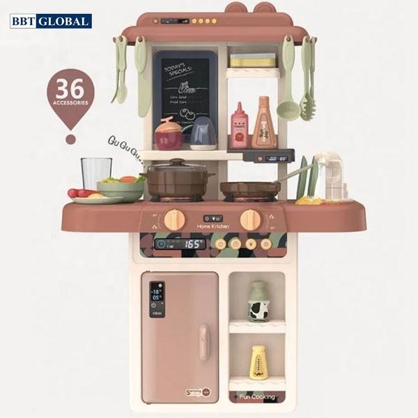 Đồ chơi bếp nấu ăn 63cm 36 chi tiết hồng không khói 889-190