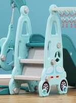 Cầu trượt xích đu liên hoàn ô tô cho bé máng dài, gờ cao BSL314 màu hồng