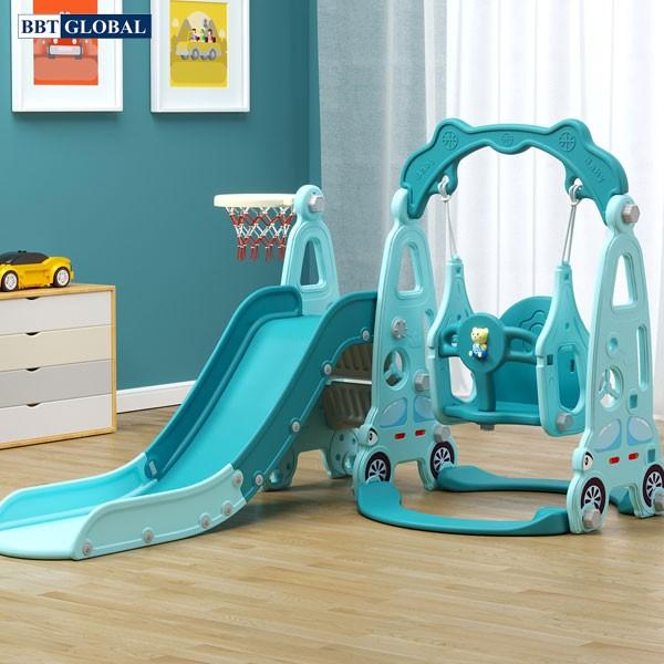 Cầu trượt xích đu liên hoàn ô tô cho bé máng dài, gờ cao BSL314 xanh dương