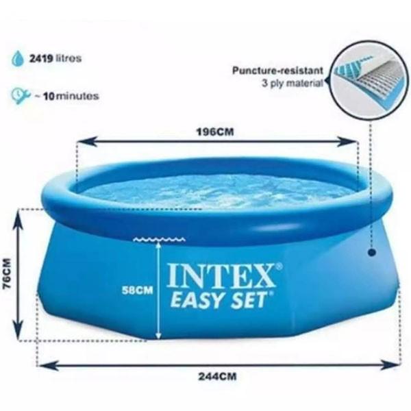Bể bơi gia đình tròn cổ bơm hơi 2m44 INTEX 28110
