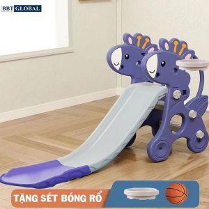 Cầu trượt hươu máng dài có ném bóng rổ BSL300