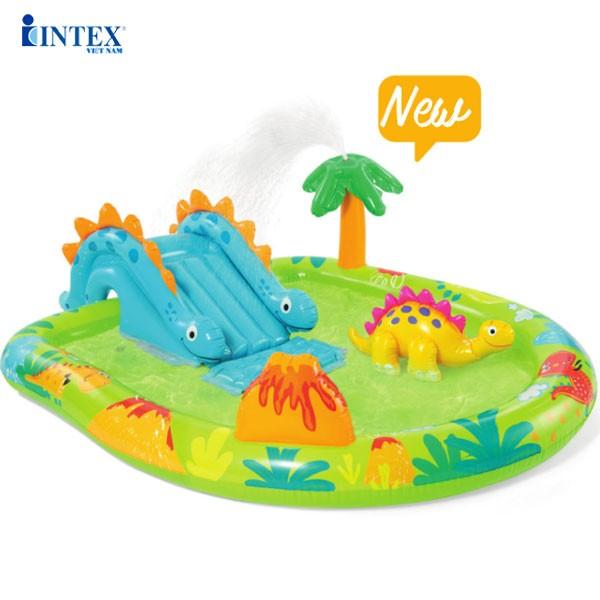 Bể bơi phao cầu trượt khủng long có vòi phun mưa INTEX 57166
