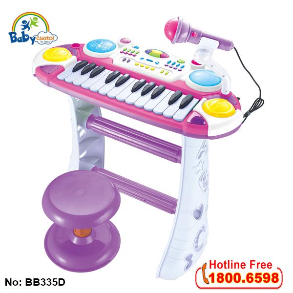 Bộ đàn organ có ghế ngồi màu hồng BBT GLOBAL BB335D