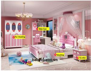 Bộ nội thất phòng ngủ bé gái đẹp nhập khẩu BO-851