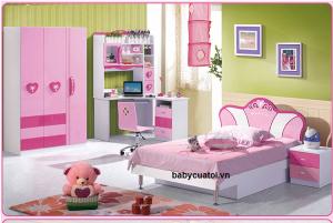 Bộ nội thất phòng ngủ bé gái đẹp nhập khẩu BO-818
