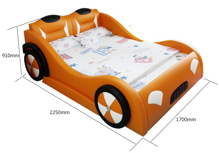 Giường bé trai đẹp hình ô tô bọc da nhập khẩu BGT-01