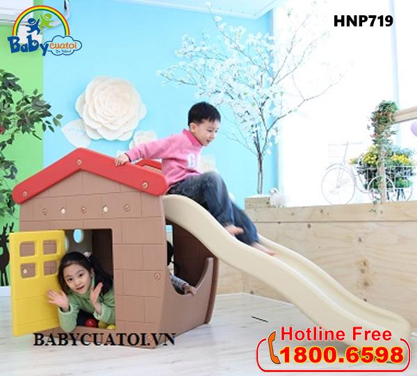 Nhà chơi cầu trượt bể bóng Hàn Quốc cho bé HNP719