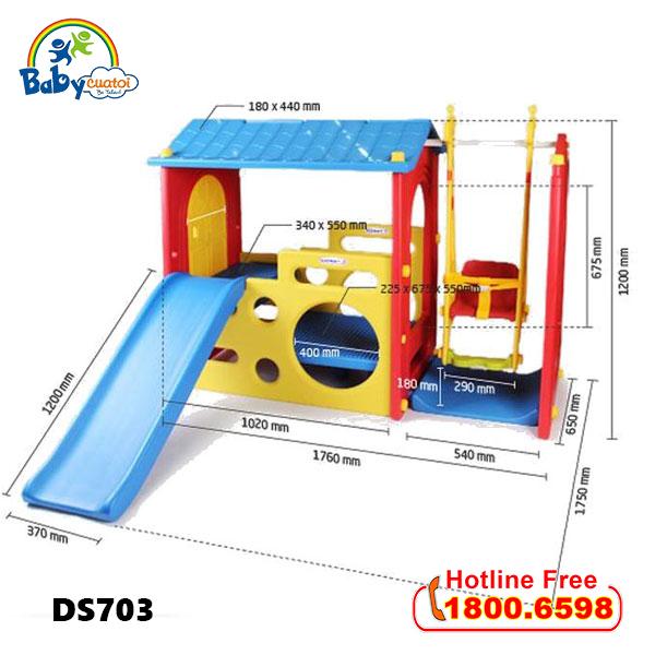 Nhà chơi kèm cầu trượt xích đu Hàn Quốc cho bé DS703_1