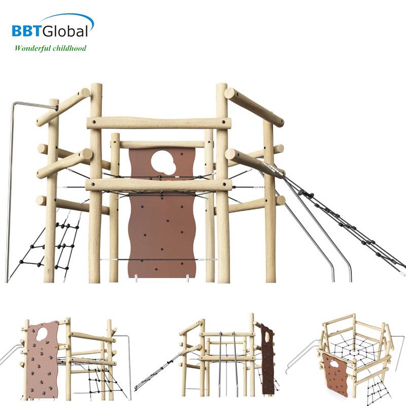 Bộ vận động và vách leo ngoài trời bằng gỗ cao cấp BBT Global HT-J005