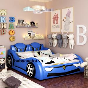 Giường ngủ cho bé trai hình ô tô bọc da cao cấp GBT-05X