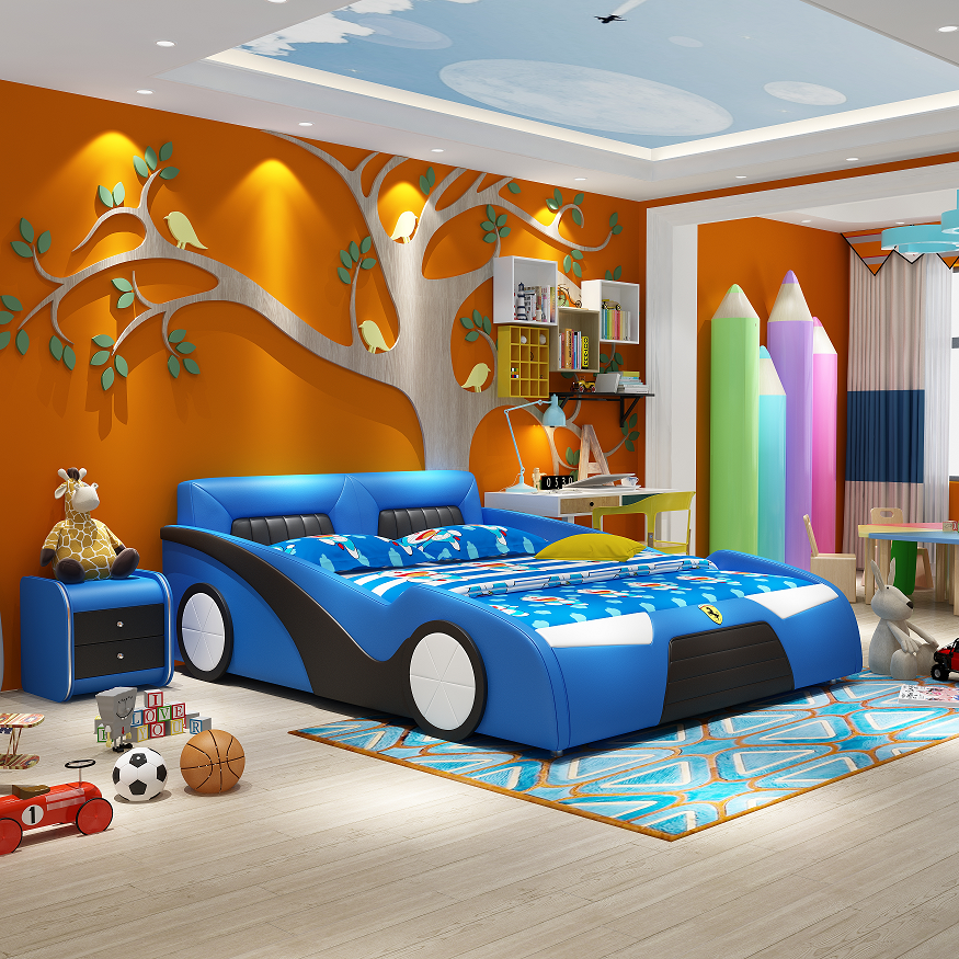 Giường ngủ cho bé trai hình ô tô bọc da cao cấp xanh GBT-B19X