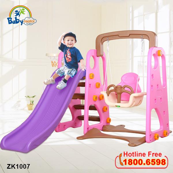 Cầu trượt cho bé có xích đu liên hoàn ZK1007