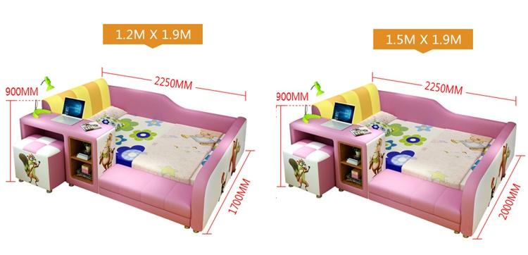 giường bé gái đẹp bọc da nhập khẩu B021-D-2